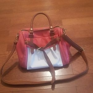 Steve madden red, white and brown shoulder bag